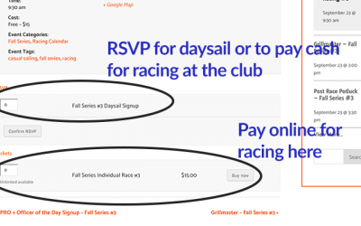 Daysailing, Cash Racing Payments, Race Results from Sept 9